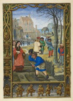 Calendar page for March, from the Golf Book (Book of Hours, Use of Rome), workshop of Simon Bening, Netherlands (Bruges), c. 1540, Additional MS 24098, f. 20v