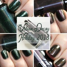 Nail polish swatches and review of Urban Decay Blackheart and Zodiac from the Holiday 2013 makeup collection.