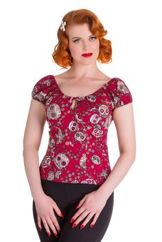 aa3c4e96a3c4a Hell Bunny Skull Love Top Pinup Girl Clothing, Super Cute Dresses, Pin Up  Dresses