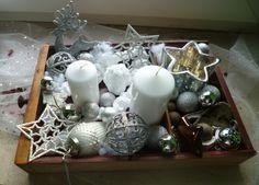 Adventskranz - Adventskranz in alter Schublade silber und weiß - ein Designerstück von Rosettas-Laden bei DaWanda