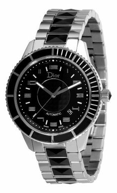 Christian Dior Unisex CD115510M001 Christal Diamond Black Dial Watch Christian Dior. $2950.00. Unidirectional rotating bezel. Stainless steel bracelet with black sapphires. Water-resistant to 165 feet (50 M). Black dial. Stainless steel round case with diamonds and sapphires