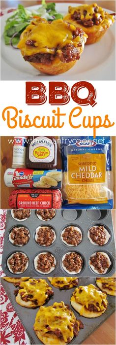 BBQ Biscuit Cups recipe from The Country Cook. Refrigerated biscuits with ground. BBQ Biscuit Cups recipe from The Country Cook. Refrigerated biscuits with ground beef barbecues sau Muffin Tin Recipes, Muffin Tin Meals, Muffin Tins, Bbq Beef, Roast Beef, Country Cooking, Cookies Et Biscuits, Cheese Biscuits, Mayonaise Biscuits