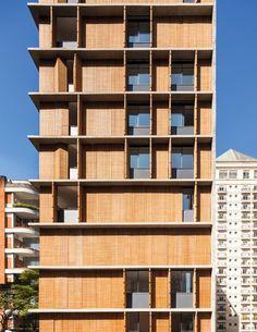 2015 World Architecture Festival Award finalist: Vertical Itaim building, Sao Paulo by Studio Screen Design, Facade Design, Exterior Design, Wooden Facade, Wooden Shutters, Building Facade, Building Design, Residential Architecture, Contemporary Architecture