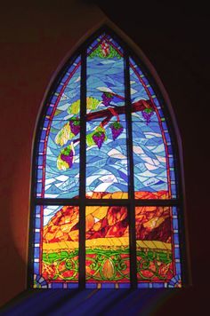 Chapel glass in the St. John of the Cross Perpetual Adoration Chapel at Emmaus Catholic Parish