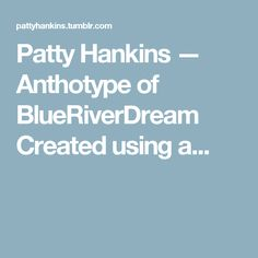 Patty Hankins — Anthotype of BlueRiverDream Created using a...