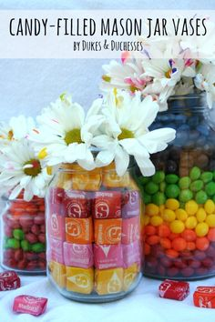 Easy DIY Candy-filled mason jar vases! What a great way to brighten (and sweeten) someone's day!