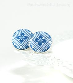 Blue Stud Earrings, White Snowflake Earring Stud, Fabric Button Jewelry, Elegant Earring Posts, Button Earrings, Silver Toned Jewelry #blueandwhite #earrings #snowflake #fabric #jewelry #gift for #quilters #quilting