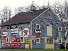 Old Blue Barn...with advertising signs.