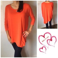 """BOGO 60% OFF SALE Orange Asymmetrical Top This is a cute orange asymmetrical top. Wear with leggings or skinny jeans. This is a cotton polyester blend top. Fit is true to size (women's sizes). I'm wearing a small in the pictures (5'7"""" and I wear a size 6) for comparison. Listing is for a medium No Trades ✅ Offers Considered*✅ *Please use the blue 'offer' button to submit an offer. aacx Tops"""