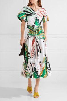 Emilio Pucci - Pleated Printed Stretch-cotton Poplin Midi Dress - Green - IT40