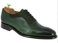 Handmade men suede shoes, brogue toe dark green leather shoe, dress shoes men - Dress/Formal