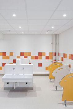 Pajot School Canteen / Atelier 208, kids bathroom, sink, bunny profile toilet partitions