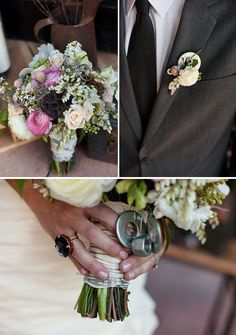 nuts and bolt wedding bouquet and boutonniere