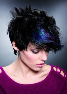 short black hair with a dash of blue and green. I think you should grow your hair out to this length abi.