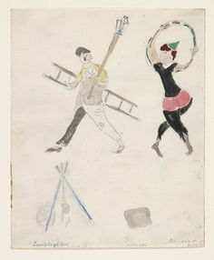 Marc Chagall. A Lamplighter and an Acrobat, costume design for Aleko (Scene IV). (1942)