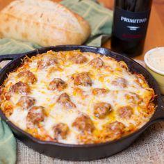 Baked Spaghetti & Meatballs - make this with spaghetti squash or gluten free pasta