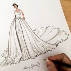 zeichnen Can't wait to see what Meghan wears today and which designer she picked? Victoria Beckham & Ralph & Russo have been in the rumour mill. Wedding Dresses Near Me, Wedding Dress Cost, Wedding Dress Sketches, Dress Design Sketches, Fashion Design Sketchbook, Fashion Design Drawings, Fashion Sketches, Fashion Drawing Dresses, Fashion Illustration Dresses