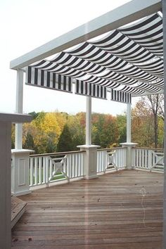 Awning patio pergola covers are in fashion now and people like to make this awning pergola in their house to have shelter against rain and sunshine. Awnings are attached to the house to give protection from the sun light but pergola is detached from Shade Trees, Outdoor Space, Deck Design, Backyard Canopy, Decks And Porches, Mahogany Decking, Deck Shade, Outdoor Living, Exterior Remodel