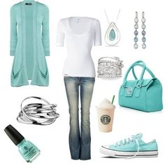 Love Tiffany blue sweater with white.  I have these Converse shoes.