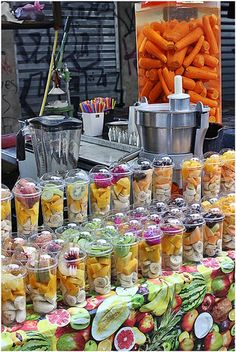 You can find delicious smoothies in the Carmel market The Carmel Market offers delicious smoothies Juice Bar Design, Smoothie Bar, Fruit Shop, Fruit Salad Recipes, Coffee Shop Design, Yummy Smoothies, Cafe Food, Partys, Food Packaging