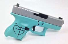 This one is a custom job for a customer who wanted a little extra touch! A Glock 27 Gen3 40 caliber pistol in Tiffany blue with a stainless steel colored slide! - www.tzarmory.com