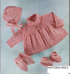 BABY HOODED ARAN JACKET TROUSERS MITTS KNITTING PATTERN 16 TO 22 INCH 191