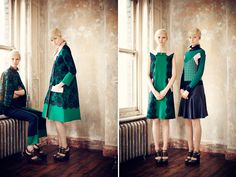 Erdem Pre-Fall 2013; anglaise lace/rich navy/classic kelly green