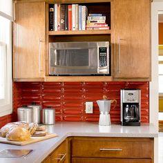 cabinets and textured tile backsplash.  not the backsplash color, not countertop color
