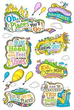 Seuss ™ Oh, the Places You'll Go! Bulletin Board Set, 27 Pieces - Home Page 5th Grade Graduation, Graduation Theme, Kindergarten Graduation, In Kindergarten, Graduation Ideas, Graduation Shoes, Visual Thinking, Dr Seuss Week, Classroom Themes