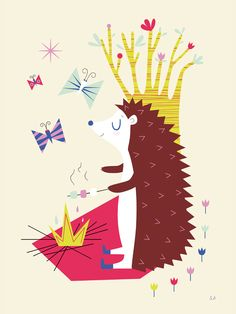 A porcupine toasting marshmallows over the fire. Illustration by Sarah Andreacchio @happymitou