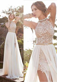 Split Long Wedding Dresses, A-line Sexy High Neck Lace Bodice Beach Wedding Dress,Ivory Chiffon Prom Dress #weddingdresses #lacedresses #laceweddingdresses #chiffonpromdresses