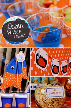 """polka dot gold fish party: """"We sewed fish pouches for everyone and we placed goldfish crackers inside. I made fish crayons for the kiddos using ice molds from IKEA and fish soap in a bag using Little Birdie Secrets tutorial."""""""