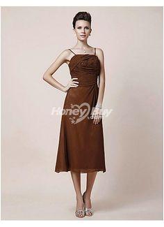 Bodice Embroidery Spaghetti Straps Chiffon Brown Tea Length Mother Dress Store