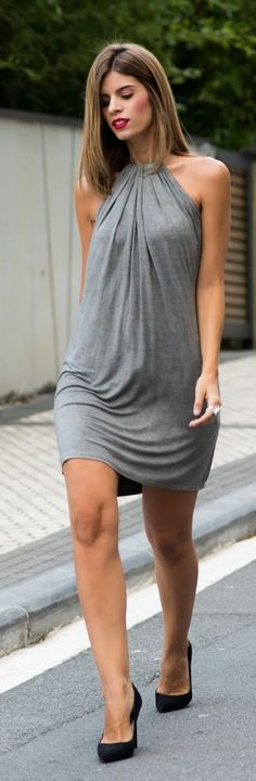 Grey Simple Halter Little Dress women fashion outfit clothing style apparel @roressclothes closet ideas