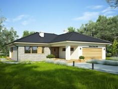 DOM.PL™ - Projekt domu FA OCEANIA CE - DOM GC6-28 - gotowy koszt budowy Bungalow House Design, Future House, Cosy, House Plans, Shed, Garage, Construction, Outdoor Structures, Outdoor Decor