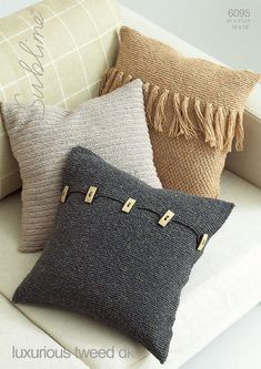 3 Cushion Covers in Sublime Luxurious Tweed DK - 6095 Green Pillow Cases, Green Throw Pillows, Diy Pillows, Decorative Pillows, Knitted Cushion Covers, Cushion Cover Pattern, Knitted Cushions, Sweater Pillow, Knit Pillow