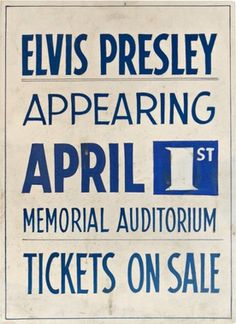 Hand-Painted Concert Poster for the Memorial Auditorium, Buffalo, Elvis Presley, 1957, Poster