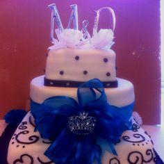 Fondant wedding cake crystal brioche and monogram cake topper.  Cake Kouture by Char
