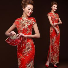 Shop elegant silk cheongsam, traditional Chinese red bridal dresses, sexy modernize Qipao from www.ModernQipao.com. Save 6% by share our products. Gold sequins embroidered red lace qipao long Chinese wedding dress