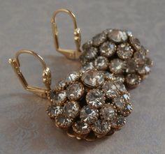 Vintage Dome Crystal Rhinestone Drop Dangle Earrings ~ #Vintage #Jewelry #VintageJewelry #Fashion #Style #1950s #Rhinestone #Crystal #Earrings #Etsy #Beauty #Design by StarliteVintageGems, $32.00