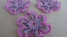 Crochet Neckwarmer - Low and High Smocking Frock (Rose Design) Stitch Crochet, Crochet Ripple, Crochet Motifs, Freeform Crochet, Irish Crochet, Spiral Crochet, Crochet Flower Tutorial, Crochet Flower Patterns, Crochet Flowers
