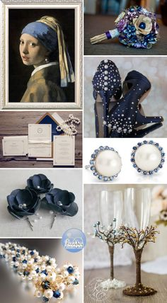 A Classically Rustic Chic Navy Blue and Gold Wedding with Pearls