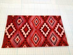 DOLLHOUSE MINIATURE - Floor Cloth American Indian Navajo Rug in Red Pattern - by Pat Tyler Leather Miniatures
