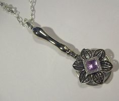 Magnifying Glass Antiqued Silver Floral Amethyst by JENSTARDESIGNS, $35.00