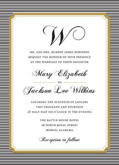 Chic Black and Gold Wedding Invitation. #wedding #invitation #printable