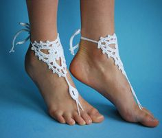 Crochet Barefoot Sandals Beach wedding White by MonstersNight, $11.00
