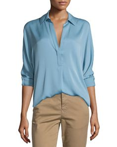 Long-Sleeve+Split-Neck+Silk-Blend+Blouse+by+Vince+at+Neiman+Marcus.