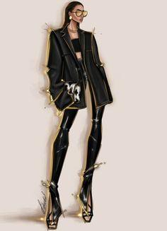 #totalblack #modeloffduty #moda2020 #disegno #figurino Fashion Sketch Template, Fashion Model Sketch, Fashion Design Sketchbook, Fashion Design Drawings, Fashion Sketches, Fashion Figure Drawing, Fashion Illustration Dresses, Fashion Vocabulary, Illustration Mode