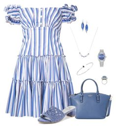 Blue and White Stripes by lwilkinson on Polyvore featuring Caroline Constas, Adrianna Papell, Kate Spade, Lazuli, Rolex, Hueb, Melissa Kaye and Kendra Scott