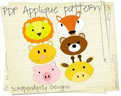 Applique pattern: 6 animals designs. Lion, fox, cat, bear, pig and giraffe. Great for quiet book, but also for a baby quilt.